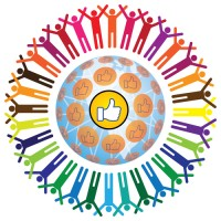 Global social networking concept of people teamworking and recommending each other as a community. A colorful illustration with connected people and like symbol.